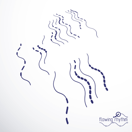 Flowing rhythm, abstract wave lines vector background for use in graphic and web design.  Иллюстрация