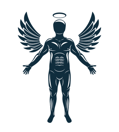 Vector graphic illustration of muscular human made using angelic bird wings and halo. Guardian angel.