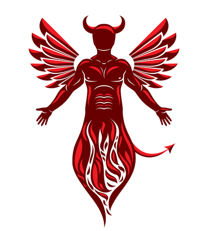 Vector illustration of human, horned frightening creature made with bird wings. Evil spirit, flame demon.