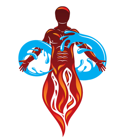 Vector graphic illustration of strong male, fireman composed with eternity symbol made with water splash, environment conservation metaphor.