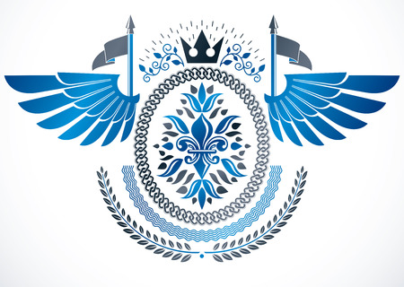 Vintage emblem made in vector heraldic design. Winged emblem created using lily flower royal symbol and imperial crown
