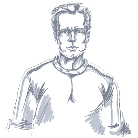 Hand-drawn portrait of white-skin confident calm man, face emotions theme illustration. Handsome guy posing on white background.
