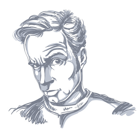 Vector drawing of suspicious man with short hair. Black and white portrait of attractive skeptic guy.  Illustration