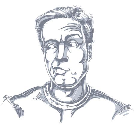 Zwart-wit vector hand-drawn beeld, jonge mens in twijfel, ongelovige. Zwart-wit afbeelding van scepticus kerel.