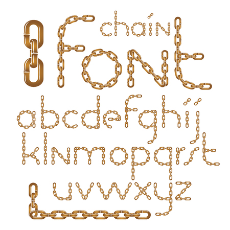 Vector English alphabet letters collection. Lower case creative font made with iron chain, linked connection.