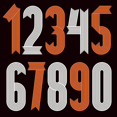 Set of cool stylish vector digits, modern numerals collection. Funky condensed bold numbers from 0 to 9 can be used in poster art. Created using geometric stripes.