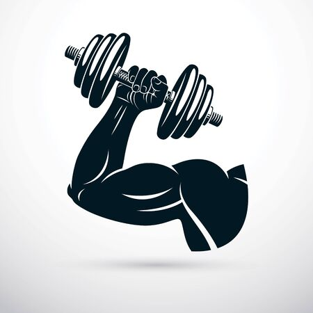 Vector illustration of athletic sportsman arm holding dumbbell. Fitness workout.