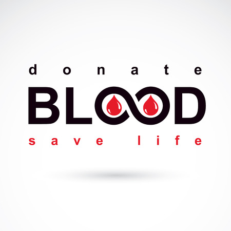 Blood donation concept vector graphic illustration isolated on white. Hematology theme emblem. The 14 June, world blood donor day. Illustration