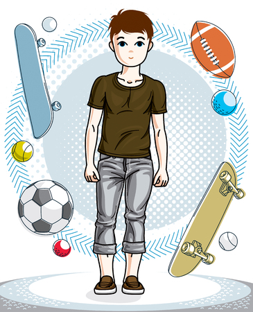 Cute happy young teen boy posing in stylish casual clothes. Vector beautiful human illustration. Fashion theme clipart.