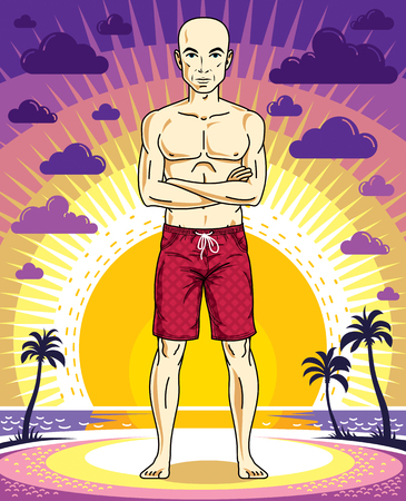 Handsome bald man poses in red shorts on background of sunset landscape with palms. Vector character. Summer holidays theme.