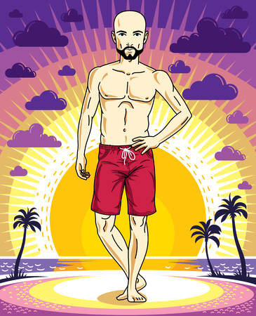 Handsome bald man with beard and mustaches poses in red shorts on background of sunset landscape with palms. Vector character. Summer holidays theme. Illustration