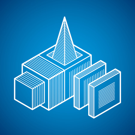 Isometric abstract vector dimensional shape, polygonal figure.  イラスト・ベクター素材