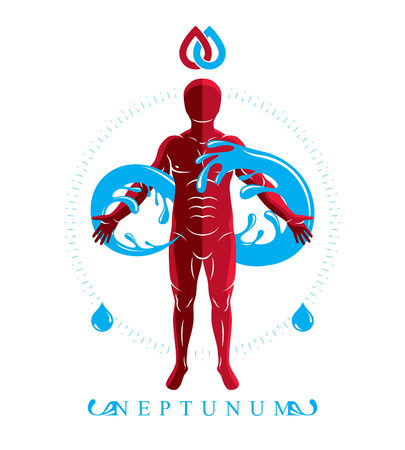 Vector graphic illustration of muscular human, personality and the symbol of limitless created from water wave. Pure water as the most important resource for human activity.