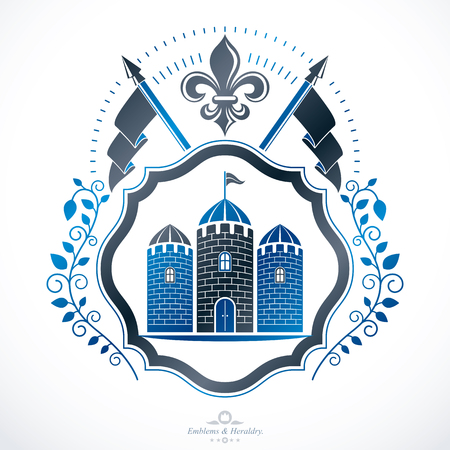 Conception de symbole d'emblème héraldique. Banque d'images - 91055695