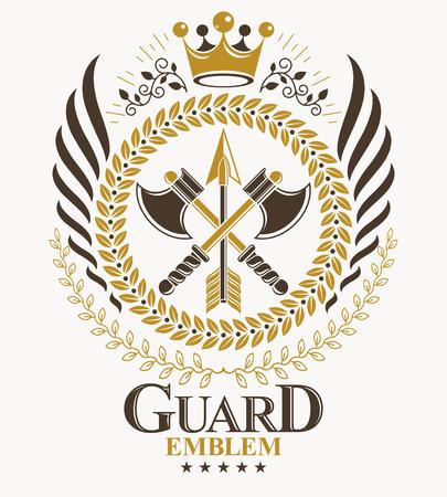 Heraldic emblem illustration.