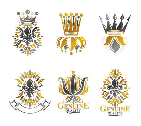 Heraldic emblem symbol design.