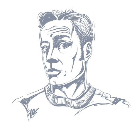 Hand-drawn illustration of shocked man. Illustration