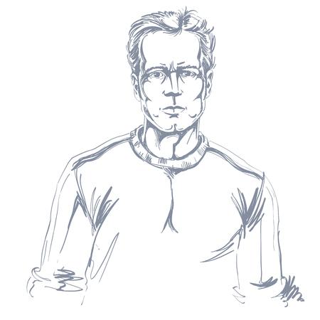 Hand-drawn portret van de wit-huid zekere kalme mens, het themaillustratie van gezichtsemoties. Knappe kerel die zich voordeed op witte achtergrond.