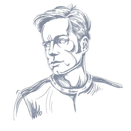 Grijswaardenportret van knappe ernstige mens, zwart-witte vectortekening. Emotionele uitdrukkingen idee afbeelding. Stock Illustratie