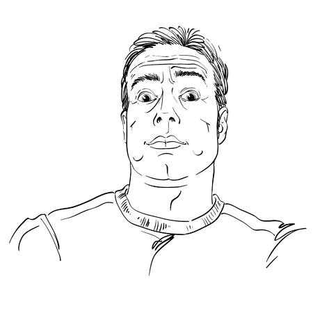 Artistic hand-drawn image of impressed man. Illustration