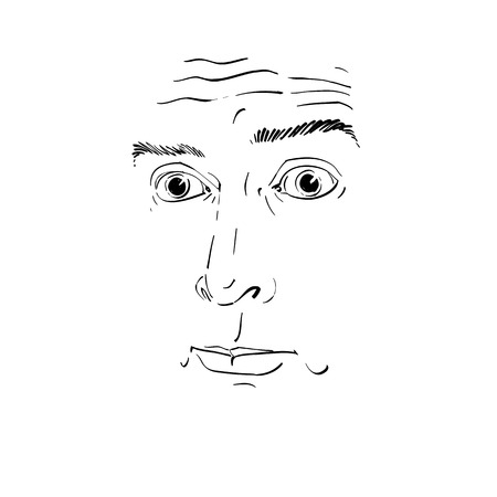 Artistic hand-drawn vector image, black and white portrait of blameworthy and regretful guy. Emotions theme illustration, visage features.