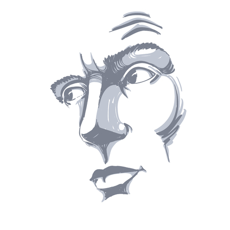 Vector art drawing, portrait of man blaming somebody, this is no good. Facial expressions, people emotions.