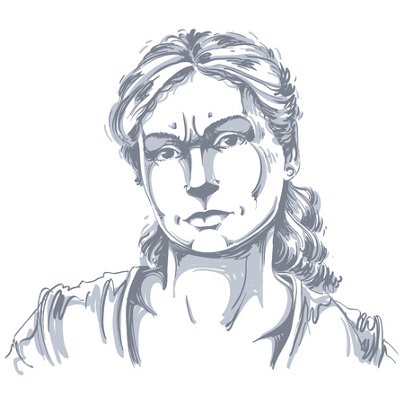 Hand-drawn portrait of white-skin doubtful woman. Illustration