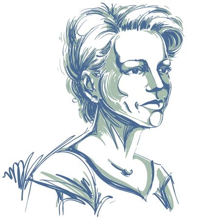 Vectorportret van aantrekkelijke vrouw, illustratie van knap ernstig wijfje. Persoon emotionele gezichtsuitdrukking.