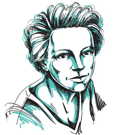Hand-drawn illustration of beautiful confident woman.