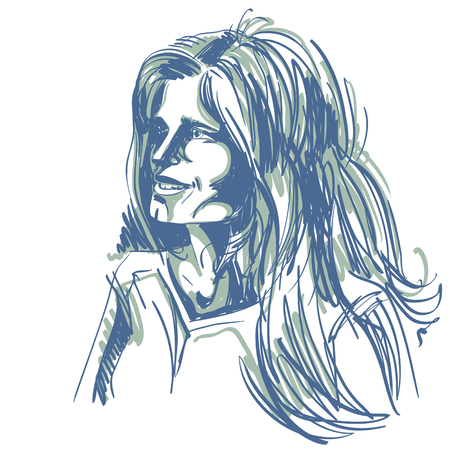 Graphic hand-drawn illustration of white skin attractive romantic lady with stylish haircut.