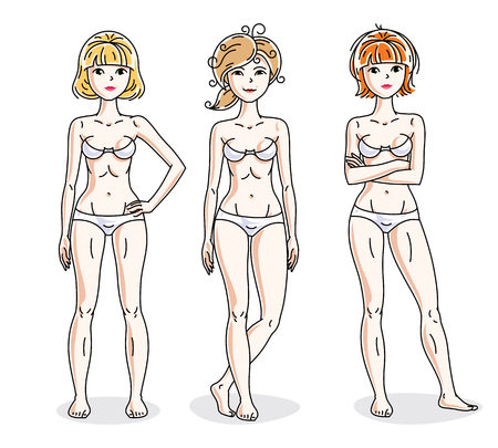 Happy cute young women standing in white underwear. Vector characters set. Slim female with perfect body.