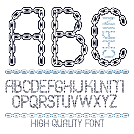 Vector script, modern alphabet letters, abc set. Upper case decorative font created using metal connected chain link.