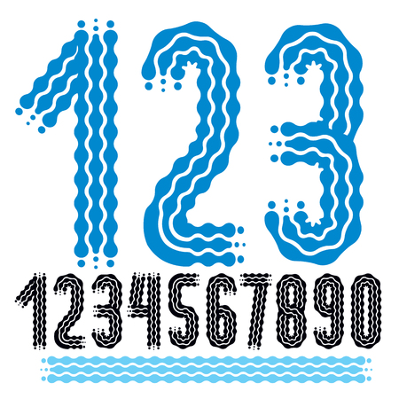 Vector funky, ornate numbers collection. Rounded bold numerals from 0 to 9 can be used in retro, disco, pop poster design. Created using waves, flowing lines.