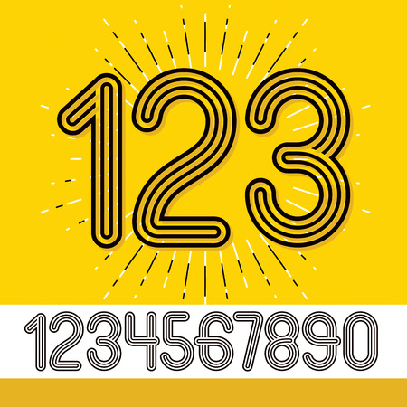 Set of stylish retro vector digits, modern numerals collection. Trendy rounded numerals from 0 to 9  can be used in poster creation. Created using geometric triple stripes.