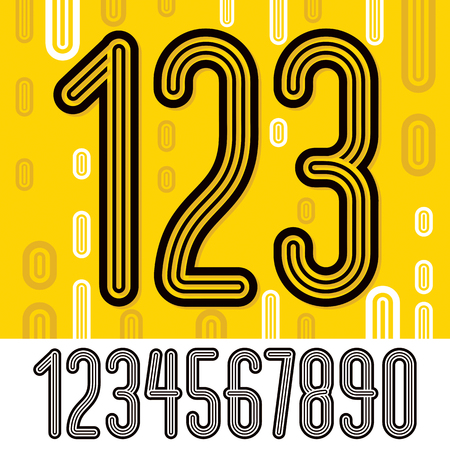 Set of stylish retro vector digits, modern numerals collection. Trendy thin, narrow numerals from 0 to 9  can be used in poster creation. Made with geometric parallel triple lines.