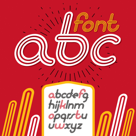 Vector retro lowercase English alphabet letters, abc collection. Cool disco cursive font, script from a to z can be used in poster art. Created using triple stripy, parallel lines.