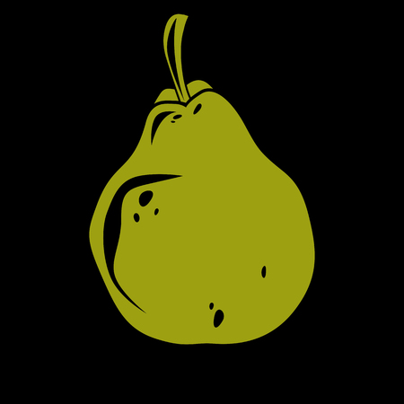 Single green simple pear illustration. Illustration