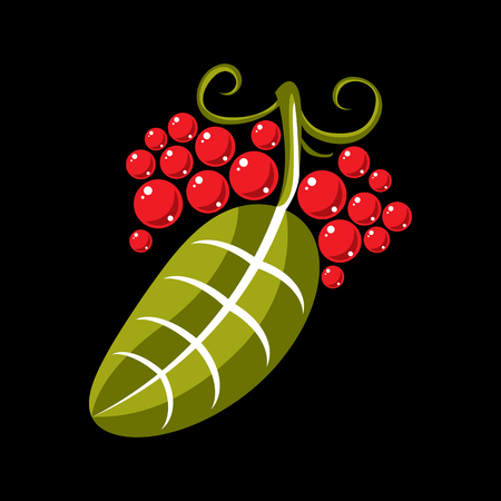 Simple green vector leaf of deciduous tree, stylized nature element. Ecology symbol, can be used in graphic design. Flat leaf with tendrils and red seeds or berries.