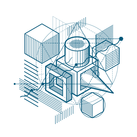 3d abstract isometric shape design pattern.