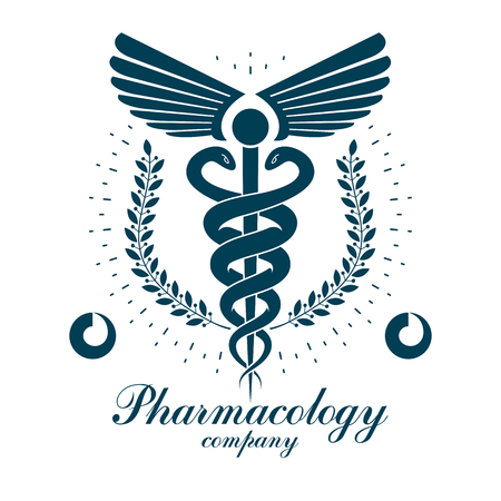 Pharmacy Caduceus vector icon, medical corporate logo for use in rehabilitation or pharmacology business.