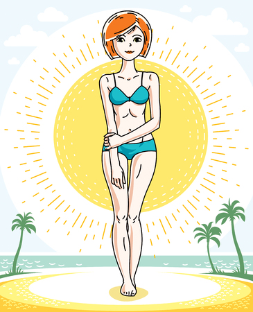 Attractive young red-haired woman posing on tropical beach with palms and wearing blue bikini. Vector nice lady illustration. Lifetime theme clipart.