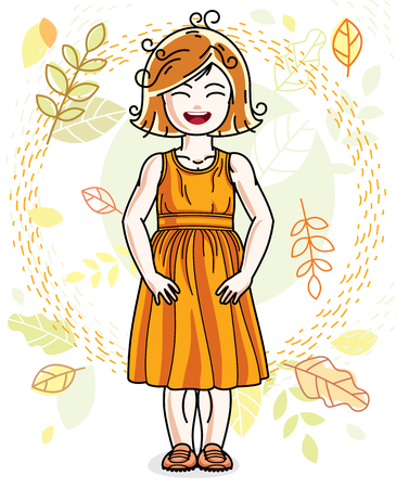 Sweet little redhead girl standing on background of autumn landscape and wearing stylish casual clothes. Vector kid illustration.