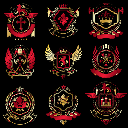 Collection of vector heraldic decorative coat of arms isolated on white and created using vintage design elements, monarch crowns, pentagonal stars, armory, wild animals. 일러스트