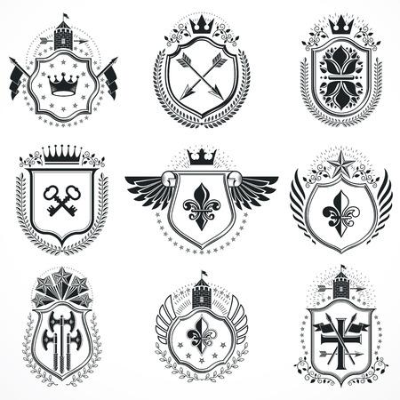 Vector emblems, vintage heraldic designs. Coat of Arms collection, vector set.