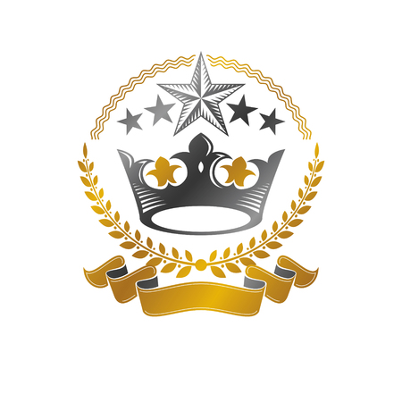 Royal Crown emblem. Heraldic Coat of Arms decorative logo isolated vector illustration.