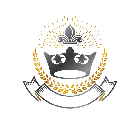 Royal Crown emblem. Heraldic Coat of Arms decorative logo isolated vector illustration. Antique logotype in old style on white background.