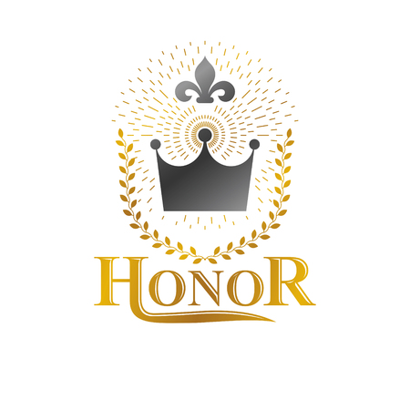 Imperial Crown emblem. Heraldic Coat of Arms, vintage vector logo. Ornate logotype isolated on white background.