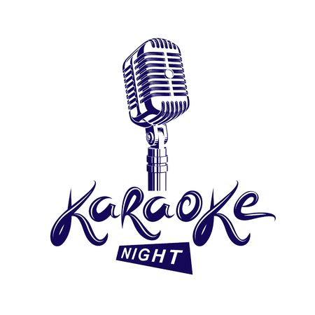 Stage microphone illustration karaoke symbol.