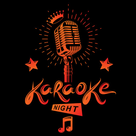 Karaoke night and club discotheque invitation poster design. 일러스트