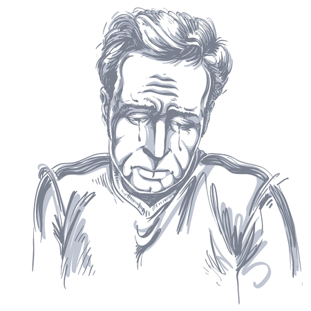 Vector drawing of crying depressed man feeling sorry about something. Black and white portrait of distressed guy.